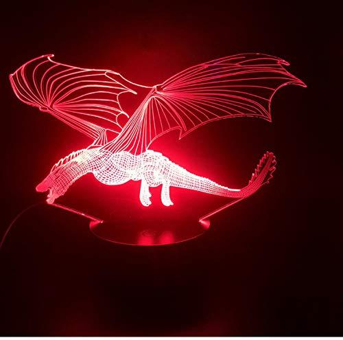 fczka Juego de Tronos Dragón Lámpara 3D Sensor táctil Luz nocturna Mejor premio Usb con pilas Lámpara de luz nocturna LED Usb La base del despertador