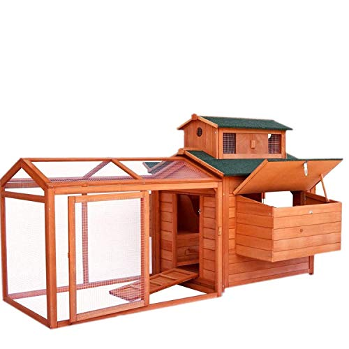 POTBY 70'' Extra Large Chicken Coop, Natural Fir Wooden Chicks Luxury Cage, Dual-Layer Pet Animal House, W/2 Nesting Boxes and Blinds, Sunny Iron Wires Parts, Waterproof Ramp Run and Removable Tray