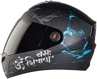 Steelbird SBA-1 Mahadev Full Face Helmet in Matt Finish with Smoke Visor (Large 600 MM, Matt Black/Blue)