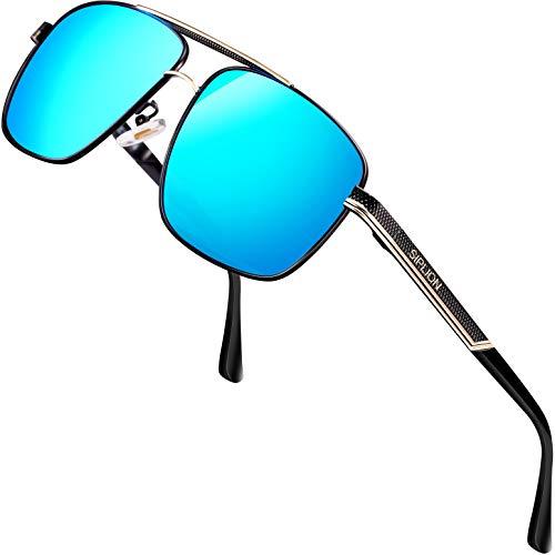 SPLION Herren Fahrerbrille Polarisierte Sonnenbrille Rechteckige Metall Rahmen Blau 1823