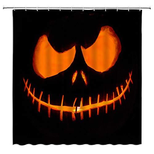 AMFD Halloween-Duschvorhang Kürbis Totenkopf Licht Zombie Minimalist Cool Orange Schwarz Happy Festival Badezimmer Vorhang Decor Polyester Stoff Wasserdicht 177,8 x 177,8 cm inkl. Haken