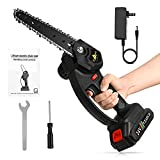Mini Chainsaw Cordless Electric Chainsaw, 6-inch Battery Powered 24V Rechargeable Small Power Chain Saw with Hanging Hand Guards, Handheld Chainsaw for Gardening Gifts Shrubs Pruning