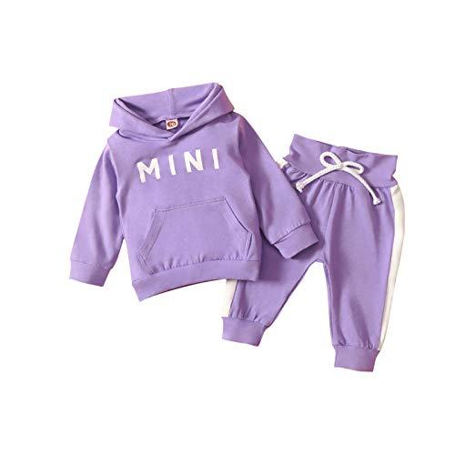 MoccyBabeLee Tuta da Bambina Tuta da Bambina Tuta da Ginnastica Tinta Unita Felpa con Cappuccio Pullover Pantaloni Lunghi Tuta 2 Pezzi Set di Abiti (Purple,12-18 Mesi)