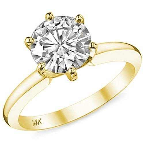 Amazon Com 14k Yellow Gold Cz Engagement Ring Solitaire 6 Prong Simple Band Setting 1 Carat Best Quality Cubic Zirconia Handmade