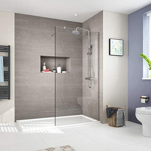 EMKE 90cm Walk in Duschwand Duschtrennwand 10mm ESG-Sicherheitsglas Dusche Duschabtrennung Nano-Beschichtung Duschtrennwand mit 70-120cm Stabilisator Höhe 200cm
