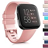 AK Sports Bands Compatible for Fitbit Versa, Soft Elastomer Multi-Colors Replacement Wristbands for Fitbit Versa Lite Watch (Peach, Small)