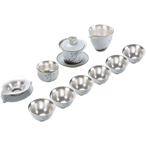 Chinese Style Porcelain Silver Kung Fu Tea Set Home Handmade Teapot Cover Bowl Silver Tea Cup for Gift