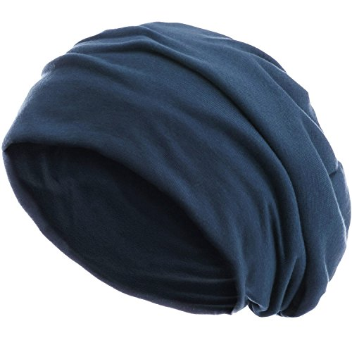 style3 Slouch Beanie aus atmungsaktivem, feinem und leichten Jersey Unisex Mütze Haube Bini Einheitsgröße, Farbe:Stone Blue
