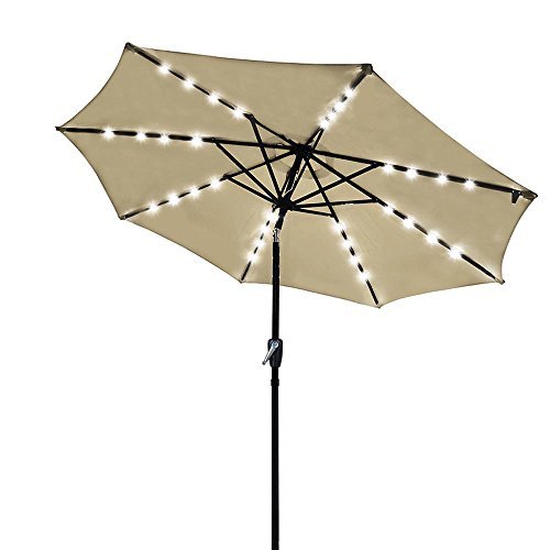 Yescom 9ft 32 Solar Powered LED Light Outdoor Patio Umbrella with 8 Rib Crank Tilt for Table Market Beach Pool Cafe Deck