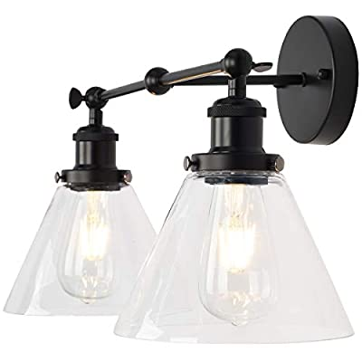 PUUPA 3 Lights Bathroom Vanity Light Fixture, Industrial Black Wall Sconce Adjustable with Funnel Flared Clear Glass Shade