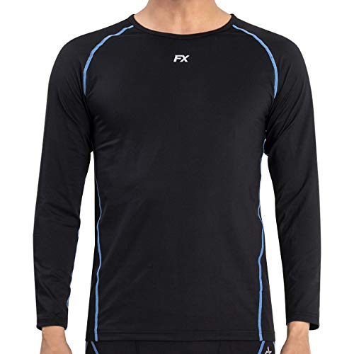 FITEXTREME MAXHEAT Mens Thermal Underwear Tops Long Johns Shirt with Fleece Lined Black S