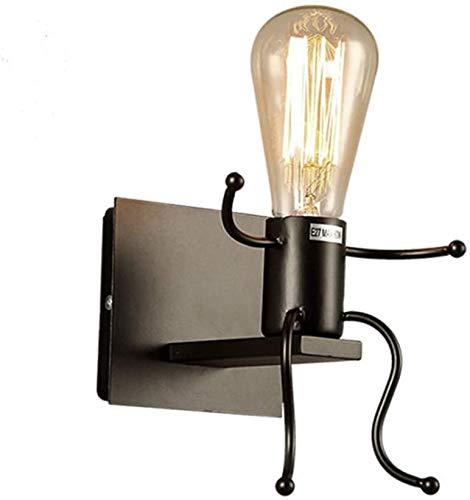 Creativo Lámparas Vintage Apliques de Pared Lámpara Metal Industrial Retro Luz de Pared de Hierro de Interior Moderna Simple E27 Base para Dormitorio Escalera Pasillo Restaurante Cocina Bar, Negro