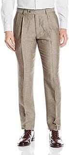 سروال رجالي من Louis Raphael مصنوع من مزيج الكتان مطوي مستقيم ملائم