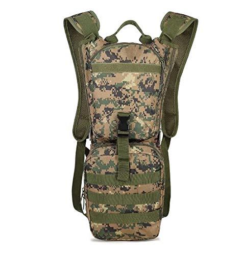 Tactical Hydration Pack Backpack 3L Water Bladder Military Oxford Sports Runner Mini Cycling Daypack Jungle Digital