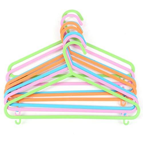 Invero Juego de 48 perchas para ropa de bebé, de plástico resistente y no tóxico, con bordes redondeados y 2 ganchos para almacenamiento adicional, multicolor