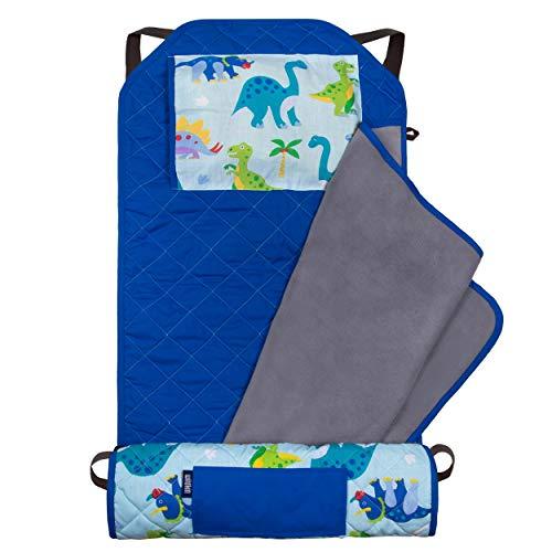 Wildkin Kids Modern Nap Mat with Pillow for Toddler Boys & Girls, Ideal for Daycare & Preschool, Features Elastic Corner Straps, Cotton Blend Materials Nap Mat for Kids, BPA-free (Dinosaur Land)