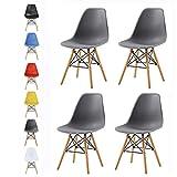 mcc direct Set of 4 Modern Design Dining Chairs Retro Lounge Chairs, LA (grey)