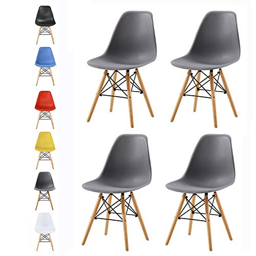 MCC Retro Design Stühle LIA Esszimmerstühle im 4er Set, Eiffelturm inspirierter Style für Küche, Büro, Lounge, Konferenzzimmer etc, 6 Farben, Kult (matt grau)