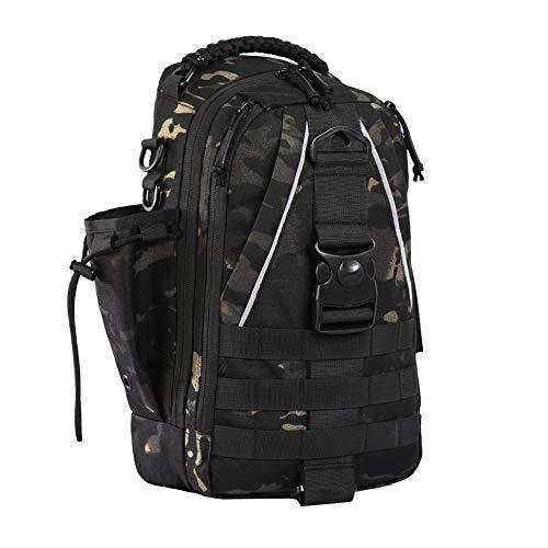 ANTARCTICAリュックサック ショルダーバックパック ワンショルダー フィッシングバッグ バッグ 釣り タックルバッグ ショルダーバッグ 大容量 多機能 防水 アウトドア ブラック迷彩