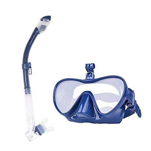 GJG Set De Snorkel para Adultos, 180 ° Panorámico Respiración Libre Paquetes De Snorkel, Anti Niebla Anti Fugas Vidrio Templado, con Soporte para Cámara, para Hombres Mujeres,Azul