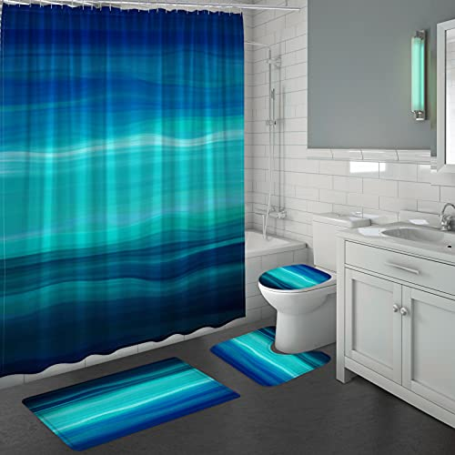 MioVilla Blue Bathroom Sets with Shower Curtains and Rugs and Accessories, Blue Teal Shower Curtain Sets with Rugs, Abstract Ocean Waves Bathroom Shower Curtain Set, Navy, Teal, Turquoise