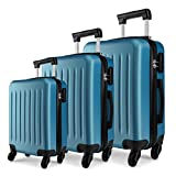 <span class='highlight'>Kono</span> <span class='highlight'>Luggage</span> <span class='highlight'>Set</span>s of <span class='highlight'>3pcs</span> <span class='highlight'>Light</span>weight ABS <span class='highlight'>Hard</span> <span class='highlight'>Shell</span> Trolley Travel Case with 4 Wheeled Spinner 19