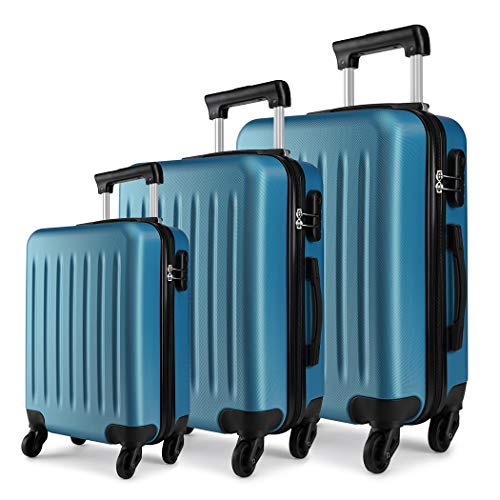 Kono Luggage Sets of 3pcs Lightweight ABS Hard Shell Trolley Travel Case with 4 Wheeled Spinner 19' 24' 28' (Navy Set)