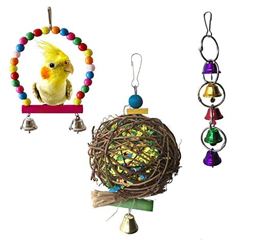 Hpybest 3 Stks Vogelspeelgoed Pet Papegaaien Wijnstok Touw Ladder Positie Beaded Twisted Toy Agapornis Vogel Papegaaien Speelgoed Speelgoed Toy