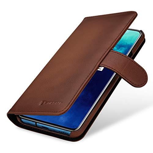 StilGut Hülle geeignet für OnePlus 7T Pro Lederhülle Brieftasche mit Karten-Fächern, braun antik