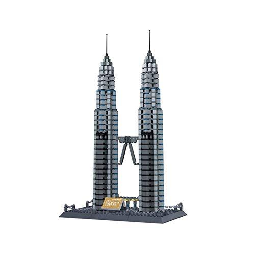 3D Building Block Puzzle, modelo pequeño de partículas de las Torres Petronas, el edificio de ladrillo Kit, Puzzle DIY juguetes del bloque, regalos del día de los niños, padres e hijos juguetes