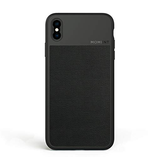 Moment Protective iPhone Xs Max Case - Durable Wrist Strap Friendly Case for Photography and Camera Lovers (Black Canvas)