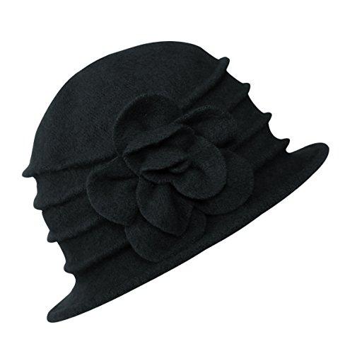 Urban GoCo Damen Vintage Bucket Hut Wintermütze Beret (#2 Schwarz)