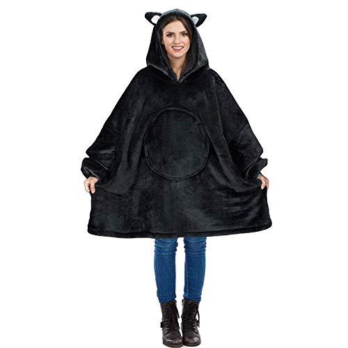 HUOFEIKE Sudadera con capucha de sherpa de gran tamaño, muy suave, cálida, con capucha, con bolsillo frontal grande, para hombres, mujeres, adolescentes, familia, b1