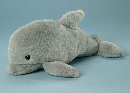 EBO 60745 - Delfin mit 2 Jungen in einer Innentasche im Bauch, die mit Reissverschluss versehen ist, 39 cm lang, hellgrauer Plüsch, Junge, grauer Velour