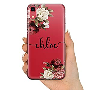 TULLUN Personalised Phone Case for iPhone 11 Pro - Clear Soft Gel Custom Cover Floral Design Individual Style Initials Name Text - Black Signature Name