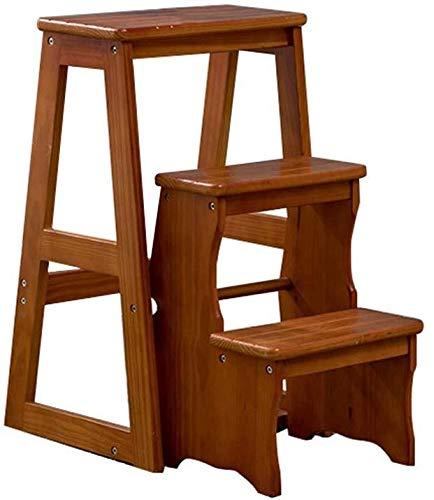 Escaleras plegables de madera de 3 pasos, ligeras y plegables, para el hogar, biblioteca de loft, capacidad de 150 kg