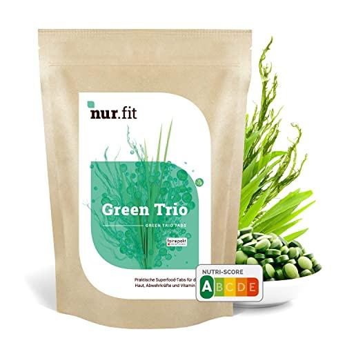 nur.fit by Nurafit Green Trio Tabletten 500g / 2000 Stück – rein natürliche Presslinge aus Gerstengras, Chlorella und Spirulina – hochdosierte Greens Tabs in Rohkostqualität – vegan Superfood