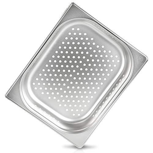 jokobela GN-Behälter :: gelocht :: geeignet für Gaggenau, Miele und Siemens Dampfgarer (Edelstahl, Spülmaschine geeignet, Gastronorm 1/2, B 32,5 x T 26,5 x H 6,5 cm)