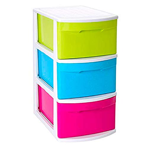 Acan Plástic Forte - Cajonera Támesis Base Blanco 3 cajones Multicolor 63 x 28.5 x 39 cm, Cajonera plástico 3 cajones sin Rueda Multiusos