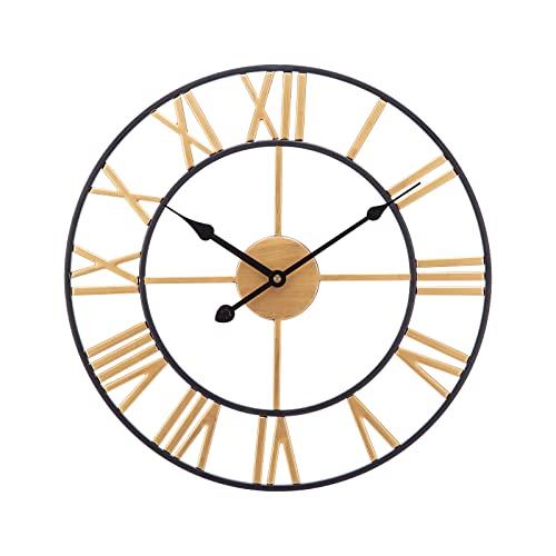 SUCHDECO Reloj de Pared Vintage Silencioso 60 cm, Dorado, Eléctrico,Reloj Circular con Números Romanos de Metal Estilo, Decoración moderna para Salón, Cocina, Oficina