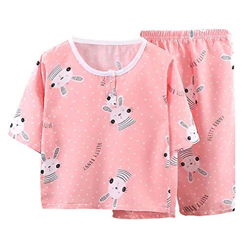 DEBAIJIA Niños Pijama 0-8T Bebé Ropa de Dormir Infantil Homewear Niña Ropa Casual Niño Animado Lindo Algodón Conjuntos (Ligero Roja-80