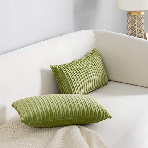 """Kevin Textile Velvet Lumbar Pillow Covers Striped, Decorative Throw Cushion Case with Hidden Zipper for Home Couch/Bedroom/Car, Soft Cozy Solid Oblong, 2 Pack (12""""x20"""",Green)"""