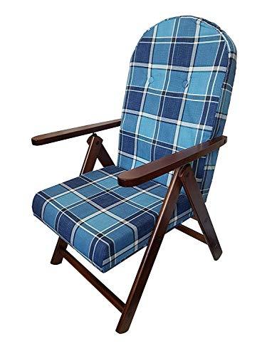 Ok affarefatto zimbardi Constante sillón Silla Tumbona Mod. Campana de Madera reclinable 4 Posiciones (Azul)