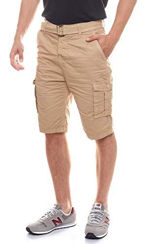 Eight2Nine Herren Cargo Bermuda mit eingezogenen Gürtel Pantalones Cortos, Almond Beige, 34 para Hombre