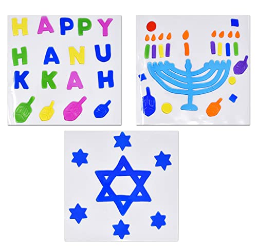 Hanukkah Window Gel Clings Decorations 3 Pack Happy Hanukkah Menorah and Star of David Gels Cling Reusable Removable Holiday Stickers Decals Designs for Window Sliding Glass Doors Party Supplies