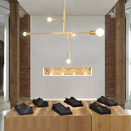 CHENJUNAMZ Espacio Moderno Simple Moda nórdica del Hierro labrado del Restaurante del Dormitorio de la Sala de la lámpara (Color : Oro)