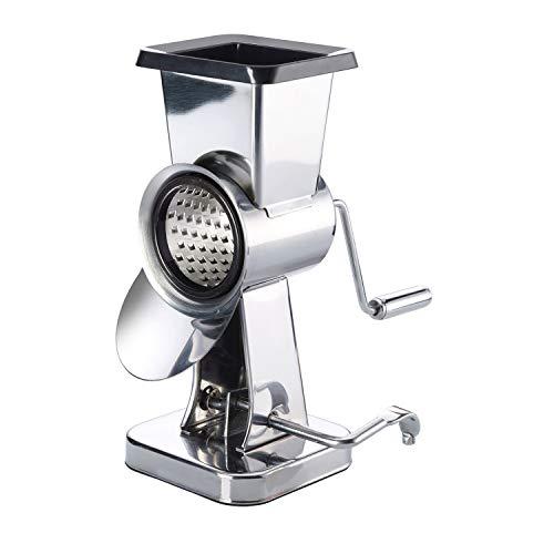 Westmark Mandel-Trommelmühle aus Edelstahl mit 2 Schneidtrommeln & Saugfuß, Höhe: 21 cm, Rostfreier Edelstahl/Kunststoff, Exklusiv, Silber/Schwarz, 97172260