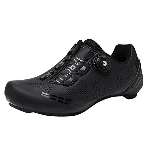 Zapatillas De Ciclismo De Carretera Zapatillas De Bicicleta Transpirables para Hombre Y Mujer Super Light Knob Hebilla Antideslizante Usable,Negro,39 EU