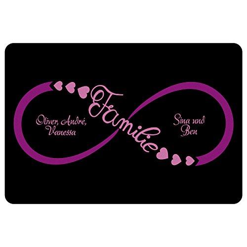 Geschenke 24 Fußmatte – Unendlichkeitszeichen Familie (Pink): personalisierte Schmutzfangmatte mit Namen – Fußabtreter außen und innen – Glücksbringer zum Richtfest, Einzug, Umzug, Einweihung