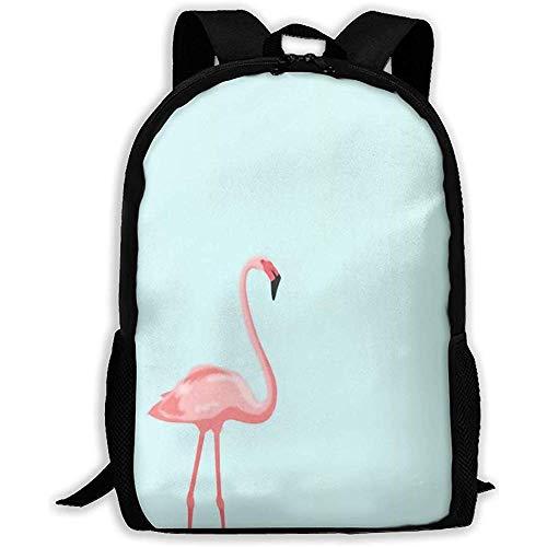 Unisex-Schultertaschen,Verstellbarer Rucksack College,Freizeitrucksack,großer Rucksack Nica Pink Flamingo Green Outdoor Dayback,Laptoptasche,Oxford-Reisetasche,Schultasche für Kinder für Erwachsene